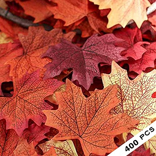 (COSYWORLD 400 Assorted Mixed Fall Colored Artificial Maple Leaves for Weddings, Events and Decorating)