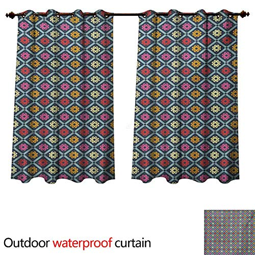 Handmade Daisies Soho (WilliamsDecor Colorful Outdoor Balcony Privacy Curtain Diagonal Checkered Pattern with Daisy Blossoms Inside Retro Effect Simple Tile W63 x L72(160cm x 183cm))