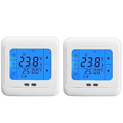MCTECH 2x termostato de ambiente programable Digital termostatos de calefacción por suelo radiante azul