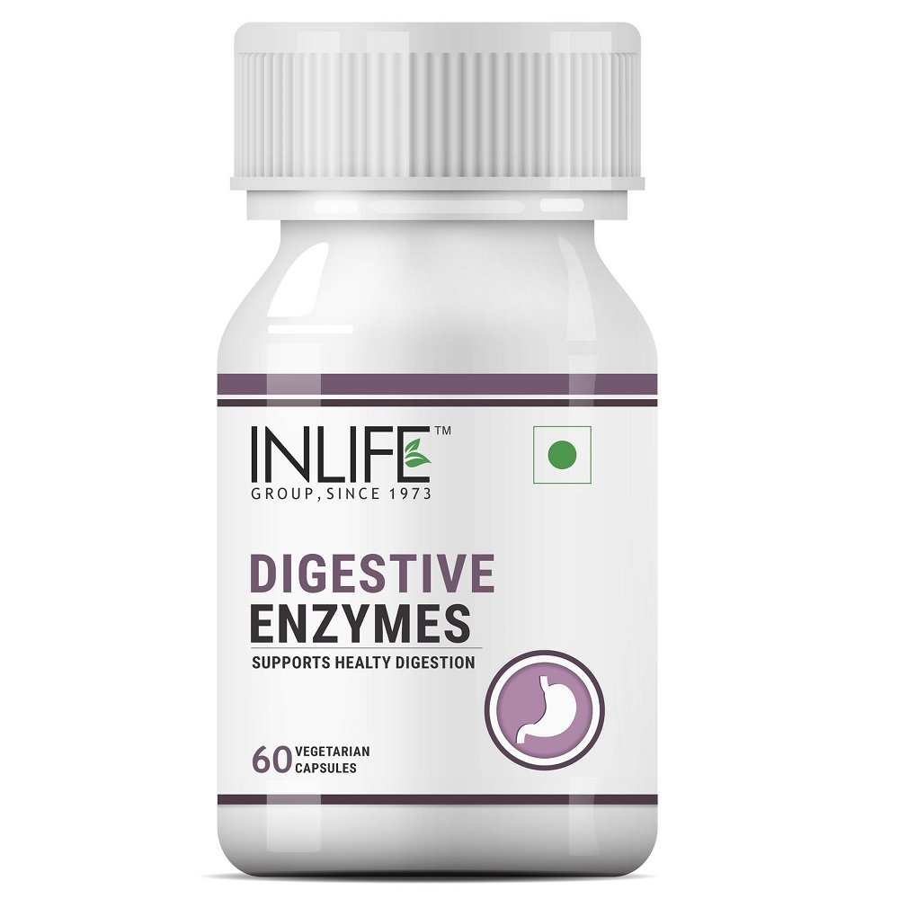 INLIFE Digestive Enzymes Supplement for Digestive Support - 60 Vegetarian Capsules (Pack of 1)