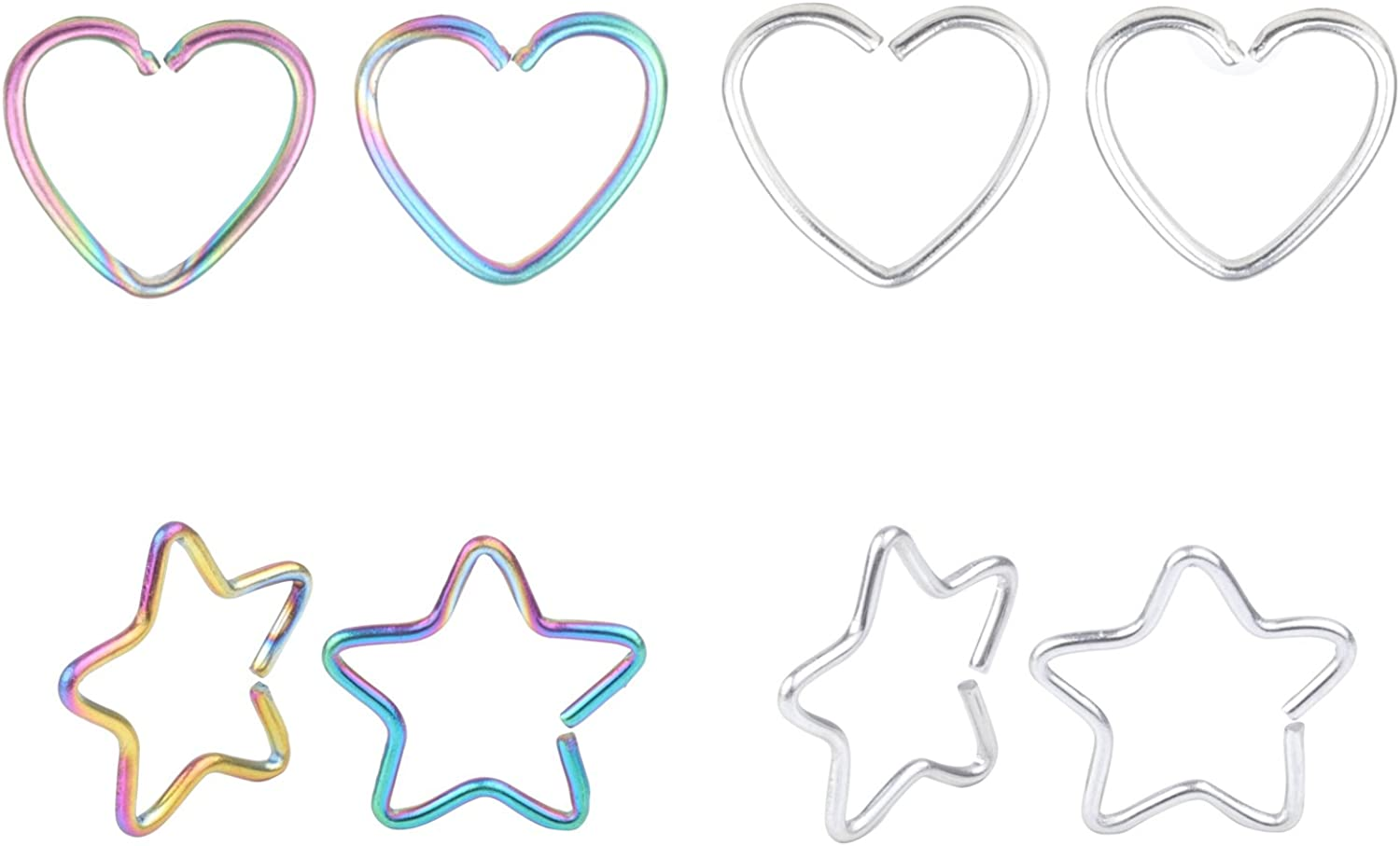 Feiyan 20G 8pcs Surgical Steel Heart Star Clip on Closure Daith Ring Fake Nose Lip Tragus Cartilage Earring Piercing Jewelry
