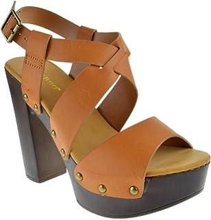 a4511c168ab BAMBOO Juliana Womens Open Toe Chunky Heel Faux Wood Platform Sandals