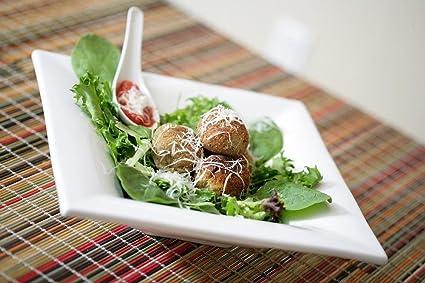 LAMINADO 36 x 24 Póster: albóndigas blanco placa carne alimentos comida saludable cocina carne de