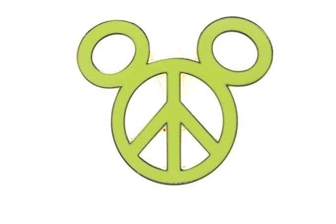 Amazon Disney Peace Sign Mickey Head Yellow Neon Green Pin