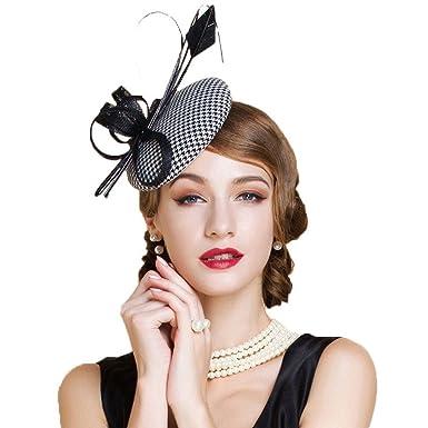 fe5f9ced66b84 Krastal Women Fascinator Black White Houndstooth Feather Pillbox Hat  Cocktail Fedora
