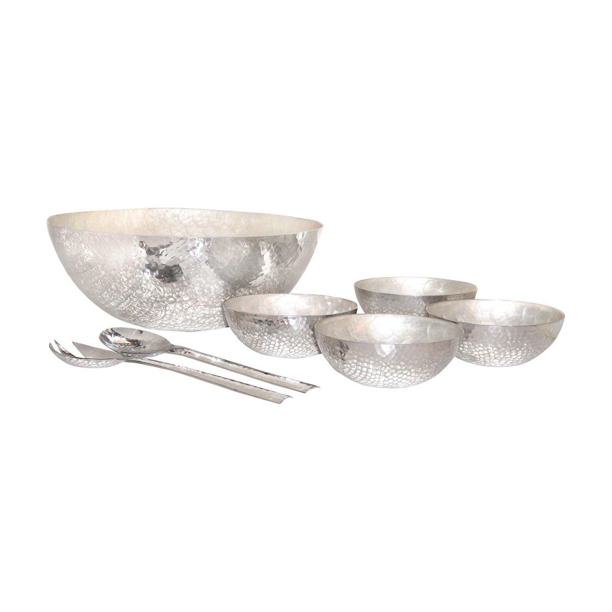 Pomeroy Reef Salad Set, Hammered Aluminum/Pearl