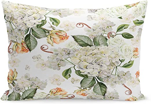 Hydrangea Floral Digital Printed Linen Cotton Fabric Curtain Upholstery Cushions