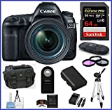 Canon EOS 5D Mark IV DSLR Camera with 24-70mm f/4L Lens 64GB SDXC Extreme PRO Bundle For Sale