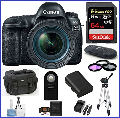 Canon EOS 5D Mark IV DSLR Camera with 24-70mm f/4L Lens 64GB SDXC Extreme PRO Bundle