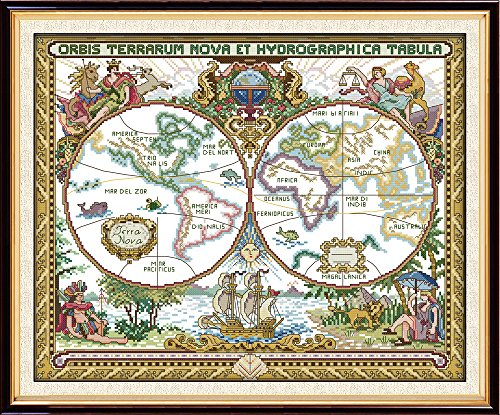 Joy Sunday 11CT Stamped Cross Stitch Kits Sew Patterns Cross-Stitch Pattern Old World Map with Printed Fabric DMC Thread DIY Hand Needlework kit by Joy Sunday