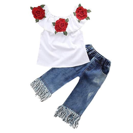 2e41023bd25a Kids Baby Girl Clothes Set Toddler Girl Off Shoulder Floral T-Shirt Denim  Tassel Pants
