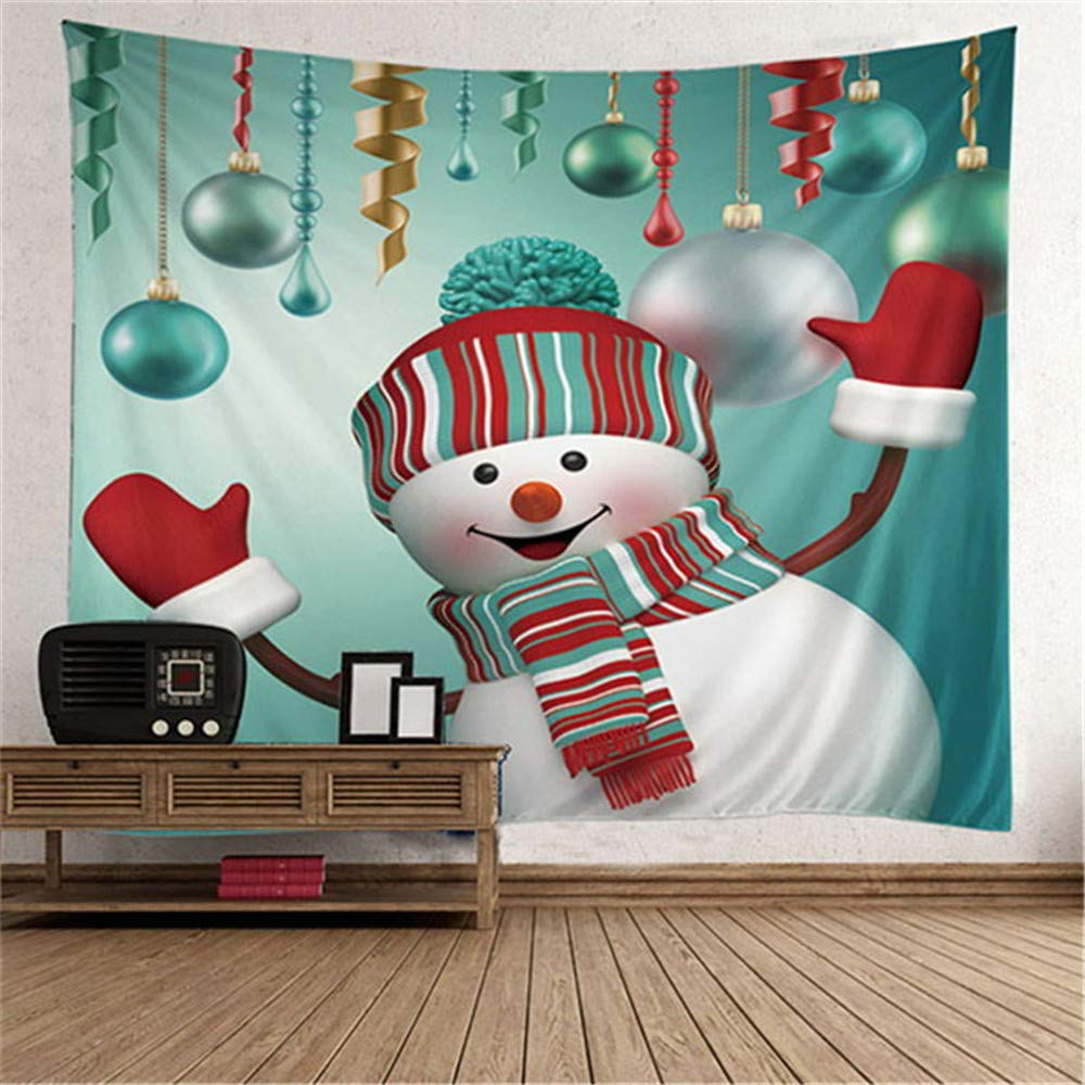 Christmas Tapestry Wall Hanging Xmas Christmas Tree Snowman Snowflakes Tapestries Wall Decor Art Home Decoration for Bedroom Living Room Dorm Decor Dertring