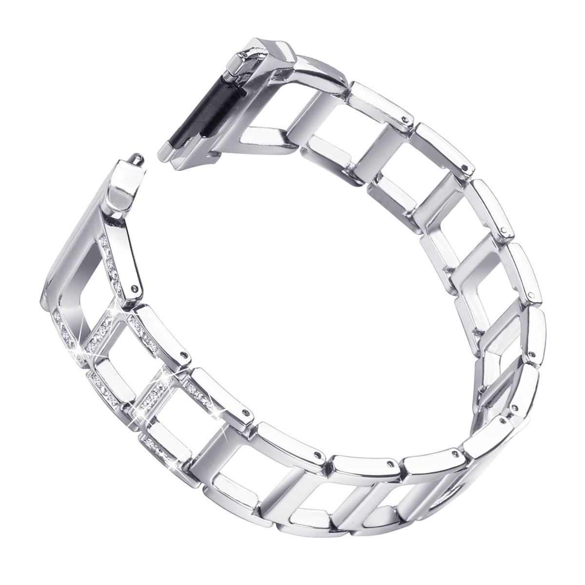Metal for Fitbit Ionic Watch Band Bracelet Smartwatch Wristband Strap Hollow Rhinestone-Studded Silver