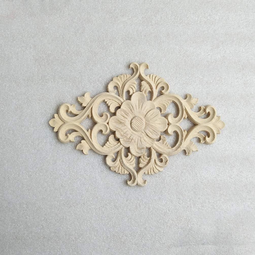 HEALLILY 2 piezas de madera tallada apliques onlay apliques sin pintar para diy artesan/ía puerta muebles para el hogar decoraci/ón tama/ño l