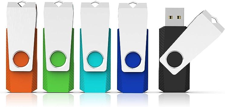 RAOYI 5PCS 16G Colorful USB Flash Drive USB 2.0 16GB Snapcap Design in 5 Mixed Colors Bulk Pack Blue, Green,Yellow,Pink,Purple