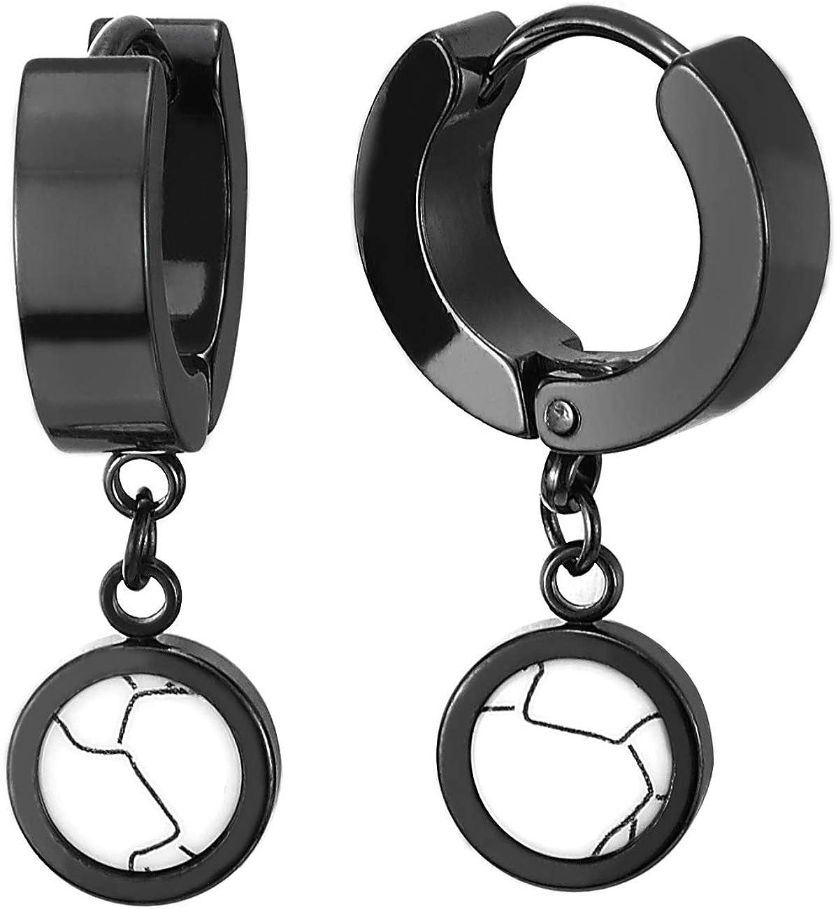 2 Negro Pendientes del Aro con Colgantes Círculos de Blanco Piedras, Pendientes Hombres Mujer, Acero