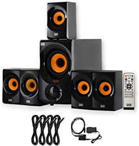 Acoustic Audio AA5170 Home 5.1 Bluetooth Speaker System with Optical Input and 4 Extension Cables