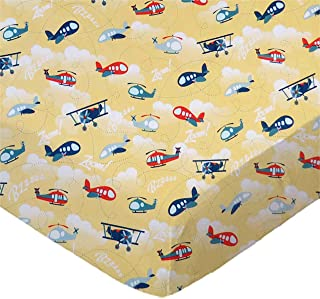 product image for SheetWorld Fitted 100% Cotton Percale Bassinet Sheet 15 x 33, Airplanes Yellow, Made in USA