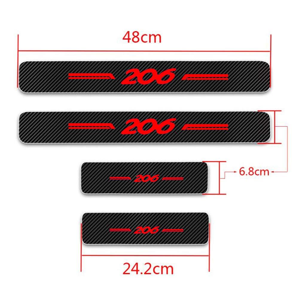 Per 206 5D Battitacco per Auto Pedali Fibra di Carbonio Sticker Adesivi Auto Prevenzione dei Graffi 4 Pezzi Bianco