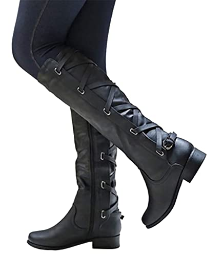 78b6c7f18 Amazon.com   Syktkmx Womens Winter Lace Up Strappy Knee High Motorcycle  Riding Flat Low Heel Boots   Knee-High