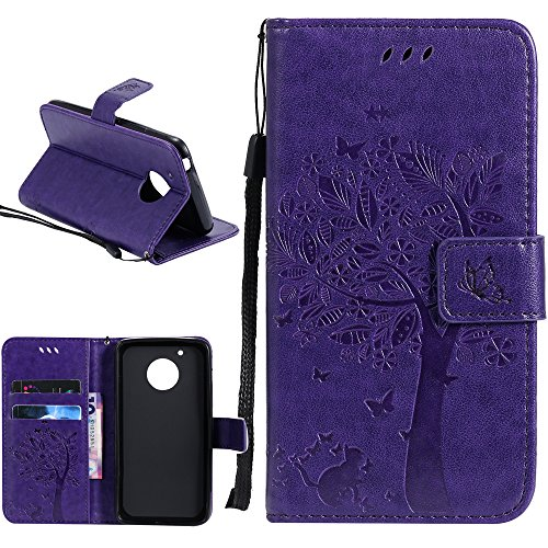 Moto E4 Case, Linkertech [Kickstand Feature] PU Leather Wallet Flip Pouch Case Cover With Wrist Strap & Card Slots For Motorola Moto E (4th Generation) US Version XT1767 (Y-4)