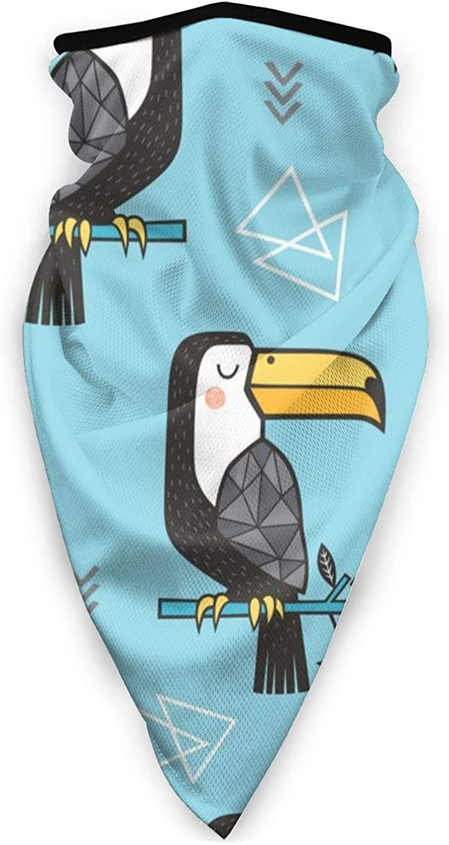 Wind-Resistant Face Mask/& Neck Gaiter,Balaclava Ski Masks,Breathable Tactical Hood,Windproof Face Warmer for Running,Motorcycling,Hiking-Toucan Bird Tropical Geometric Triangles On Blue