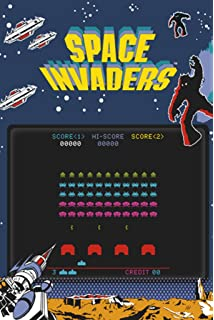 Pyramid America Space Invaders Play Screen Video Gaming Poster 24x36 inch