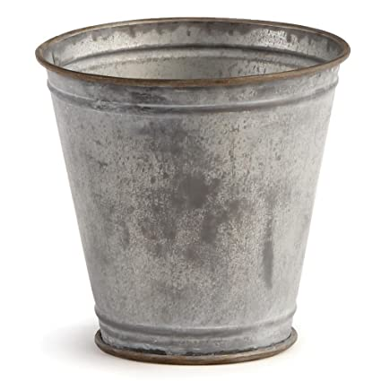 Bon 5u0026quot; PARIS FLOWER POT ANTIQUE GALVANIZED