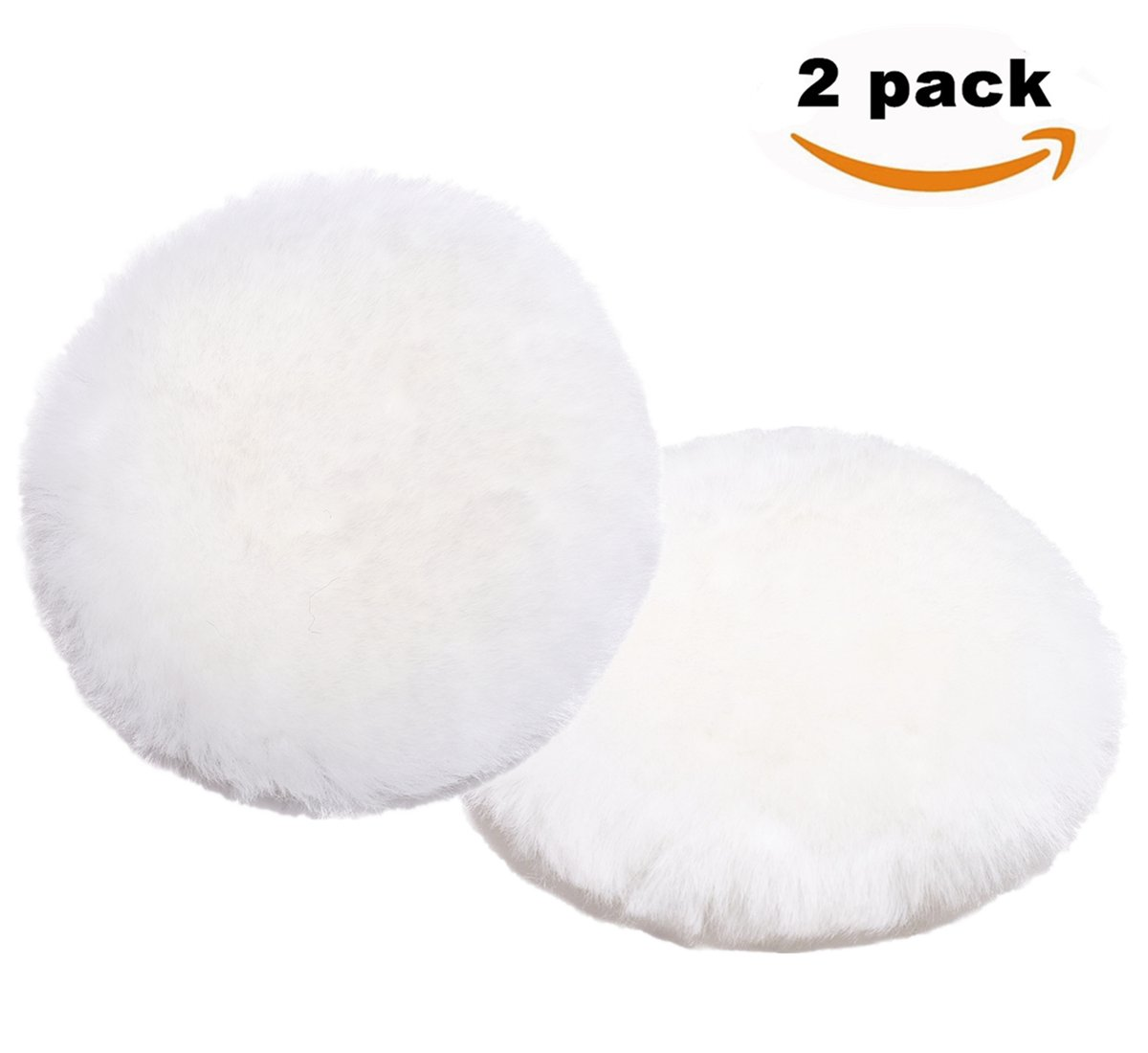Finishing Wool Pad Size 7'' Okayda Natural Lambs Wool Polishing Cutting Pad With Hook And Loop for Car Polisher White 2 pads