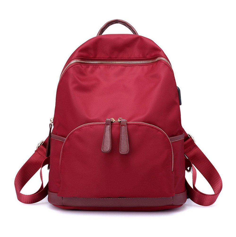 Hynbase Retro Women Student Schoolbag Travel Daypack Rucksack Backpack Casual Nylon Shoulder Bag Red