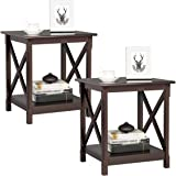 YAHEETECH X-Design End Table Sofa Side Table with Storage Shelf, Side Stand for Living Room, Set of 2, Dark Coffee