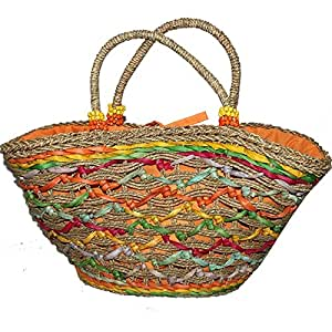 Fashionable and Elegant Corn Leaf and Straw Tote Bag, Great for Picnics or Beach, Yellow/Orange/Brown