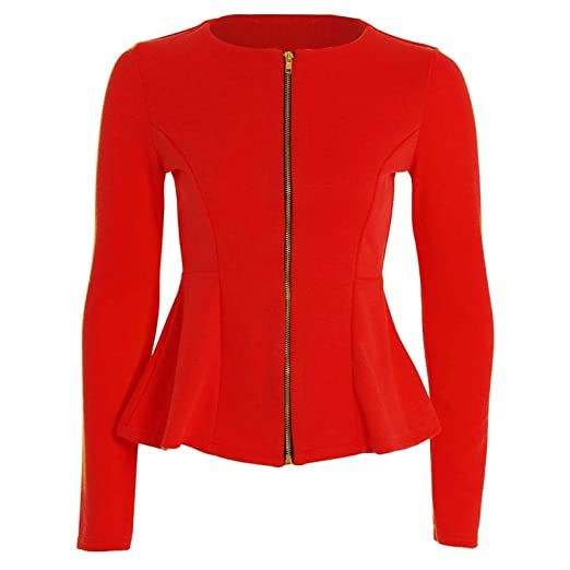 Forever Womens Long Sleeves Plain Zip Peplum Blazer Jacket Top at ...