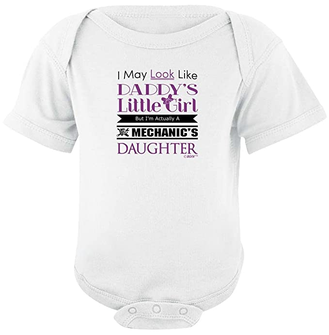 304c5e129 Baby Clothes Daddy's Girl But I'm Mechanic's Daughter Bodysuit Newborn White