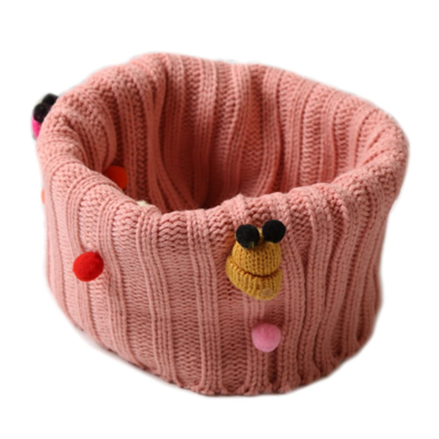 Winter Cartoon Thick Knit Soft Warm Wool Cold Weather Scarf Wrap for Boys and Girls, Pink