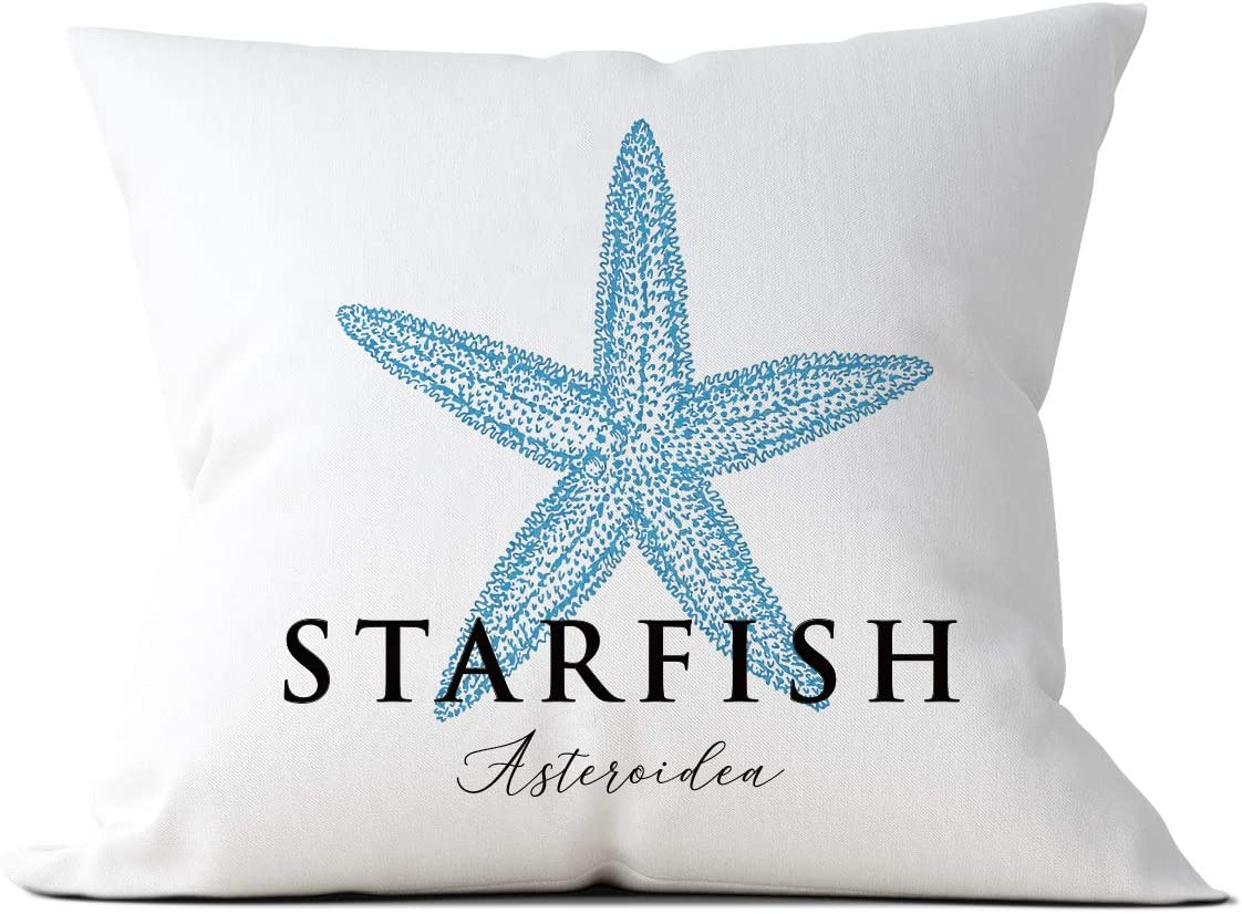 Beach Starfish Throw Pillow Cushion Covers Case, Beach House Home Bedroom Sofa Couch Bedding Car Farmhouse Decor, Gift for Family, Friend, Men, Women, Birthday, Christmas, Thanksgiving, Housewarming