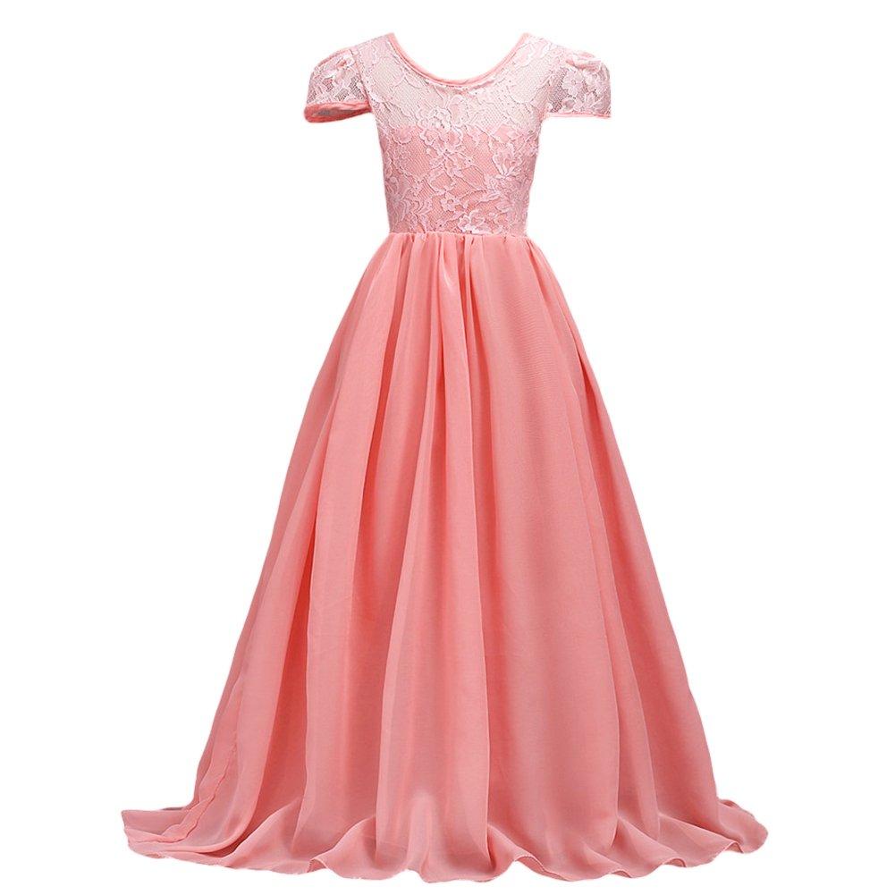 1c3e176de05 Elegant kids girls chiffon lace splicing long maxi formal party princess  floor length graduation dress.          Fashion design