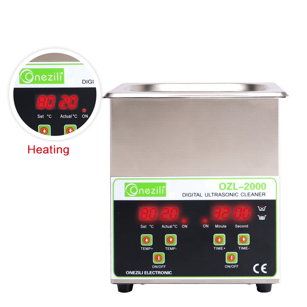 Commercial Ultrasonic Cleaner 2L Heated Ultrasonic Cleaner with Digital Timer Jewelry Watch Glasses Cleaner Large Capacity Cleaner Solution by ONEZILI
