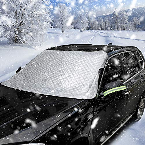 Power Tiger Car Windshield Cover for Snow Ice & Frost, 4-Layer Thicken Windshield Snow Cover 4 Season Protection with Rear Mirror Cover, Extra Large Size 76