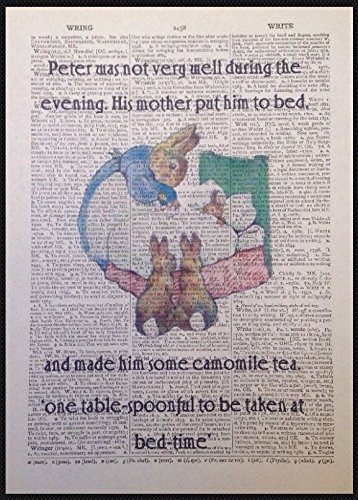 Peter Rabbit vintage Dictionary page Picture Wall Art Print quote Homemade