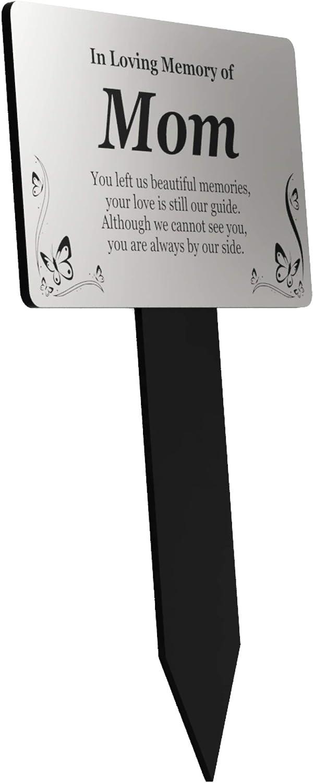 Origin Mom's Memorial Plaque Stake - Silver and Black Acrylic, Waterproof