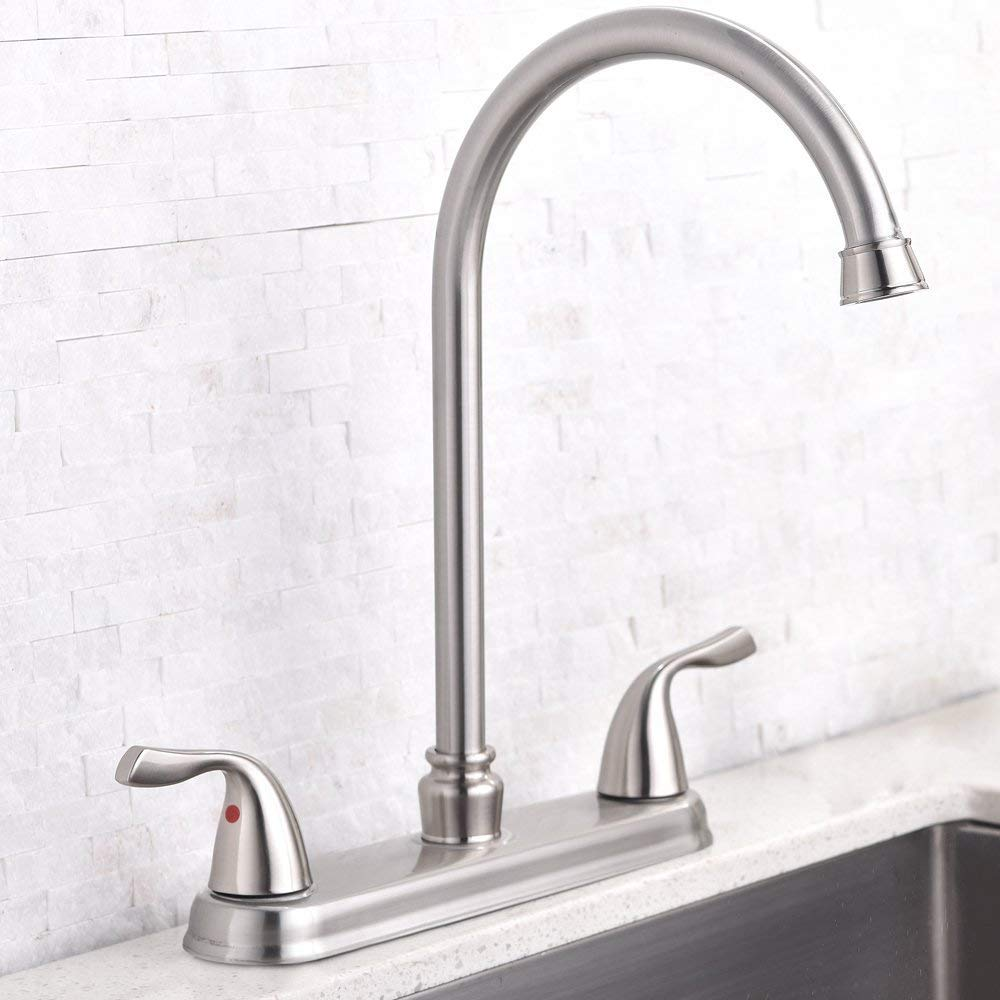 Hotis Commercial Stainless Steel Lead-Free Two Lever Two Hole Gooseneck High Arc Two Handle Kitchen Sink Faucet, Brushed Nickel Kitchen Faucet by HOTIS HOME (Image #4)