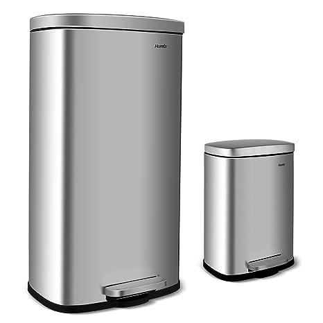 Homfa Set de 2 Cubo de Basura (30L+5L) Cubo de cosméticos con Pedal Papelera de Baño con Tapa Soft-close Anti-Huellas Mate para Cocina, Dormitorio, ...