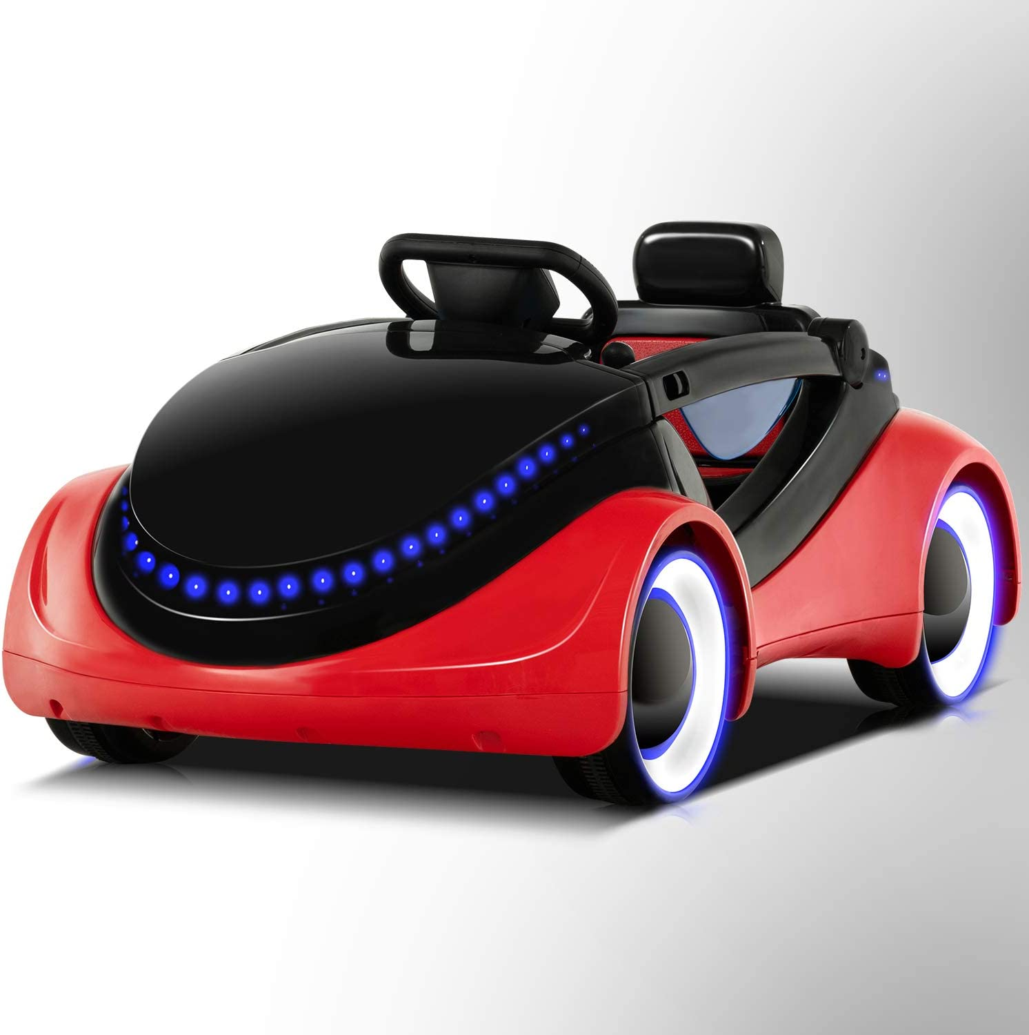Music Uenjoy Electric Kids Ride On Cars Battery Motorized Vehicles with Remote Control Safety Lock Red Story Playing LED Lights