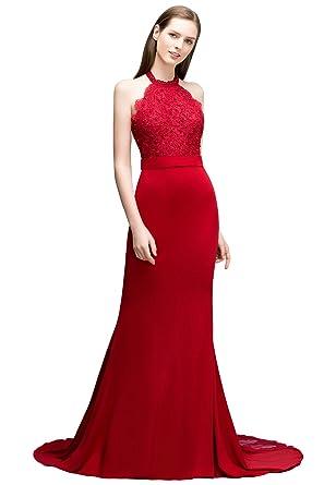 fb0b855b4976 MisShow® Damen Elegant Neckholder Meerjungfrau Abendkleid Ballkleid  Hochzeitskleid Applique Bodenlang Gr.32-46  Amazon.de  Bekleidung