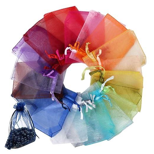 FLOFIA 100 Bolsas Bolsitas de Organza de Boda 7x9cm Colores Blanco Azul Pequeñas Bolsas Regalo Organza Tul para Joyas Joyería Arroz Recuerdo Favores ...