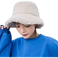 ZIQIAN Winter Bucket Hats for Women Girl Vintage Cloche Hats Warm Imitation Lambs Wool Outdoor Fisherman Cap