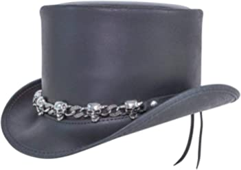 14c4f727d93a8 Voodoo Hatter El Dorado-5 Skull Band by American Hat Makers Iconic Leather  Top Hat