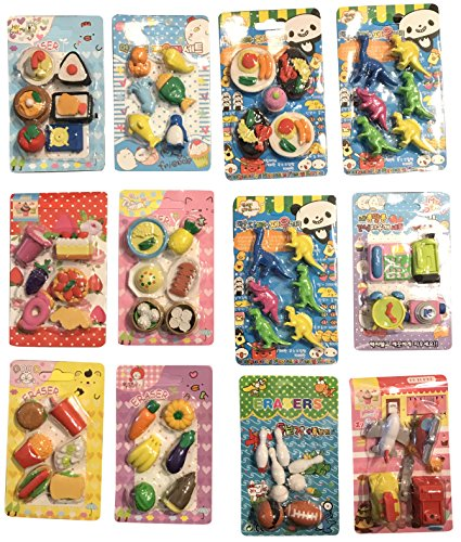 Collectible Fun Colorful Objects Japanese Style Erasers (12 (Fun Collectibles)