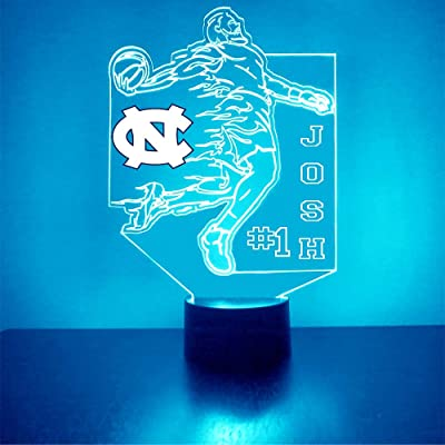 Mirror Magic Store College Basketball Player LED Light/Lamp with Free Personalization - Features Licensed Decal and Remote (Tar Heels (North Carolina)): Home & Kitchen